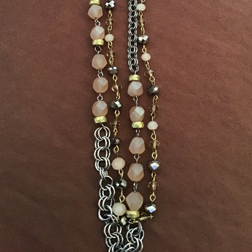 Silver, gold and beaded necklace, adjustable length, from Dream Lily Designs