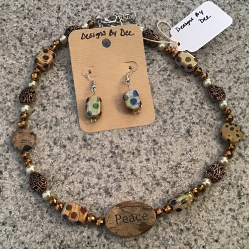 Necklace and earring set- unique spotted brown stone with Peace pendant