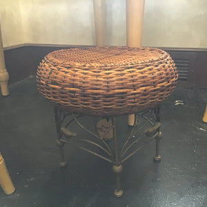 Wicker and wrought iron footstool