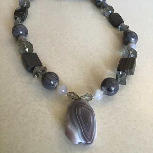 Grey and Granite Beaded Bracelet and Necklace Set with Stone Pendant