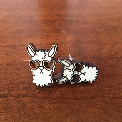 Handmade wooden, laser cut, Llama in sunglasses stud earrings