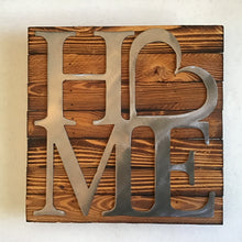 "Square ""Home"" Sign, Metal on Wood"