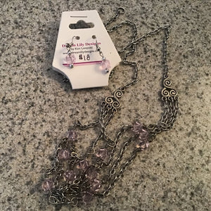 Chain link silver and pink bead necklace and earring set