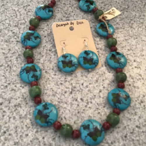 Turquoise beaded necklace and earring set with butterfly print