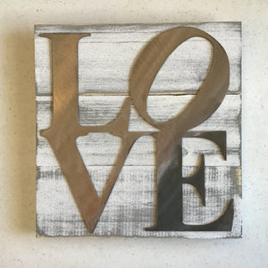 "Square ""Love"" Sign, Metal on Wood"