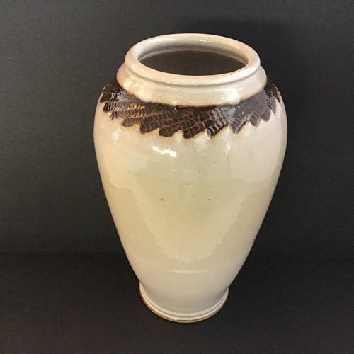 Large Cream colored handmade stoneware vase w/ brown trim design