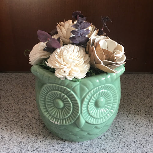 Ceramic Owl Centerpiece with wooden flowers