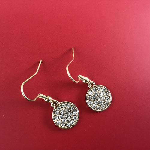 Diamond look round dangle earrings