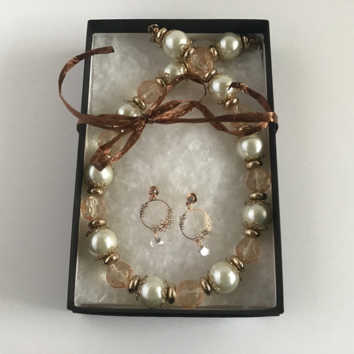 Pearl and faux amber necklace and earring set