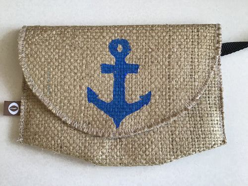 Burlap Clutch Bag with Anchor Design