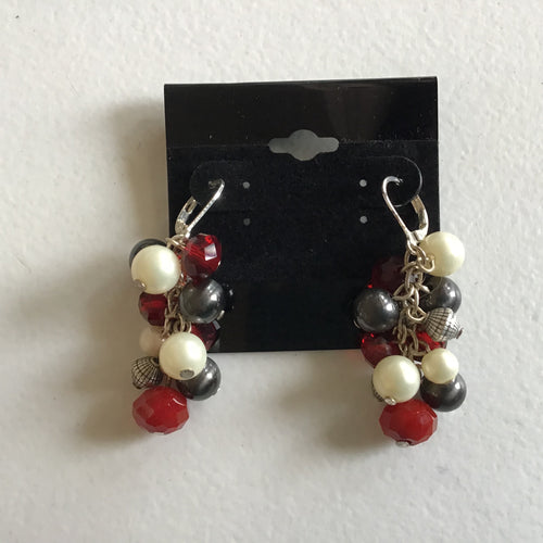 Red, Black and White Ball Dangle Earrings