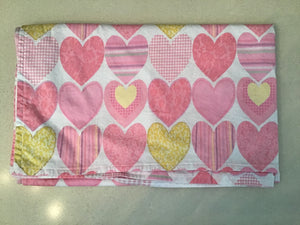 Pink hearts flannel baby blanket