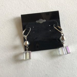 Clear Cube dangle earrings