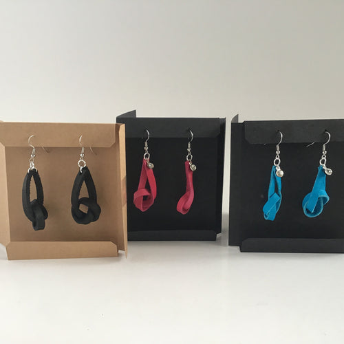 Leather knot dangle earrings