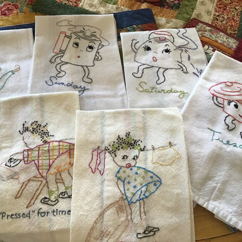 Tea towels - handstitched by Peggy