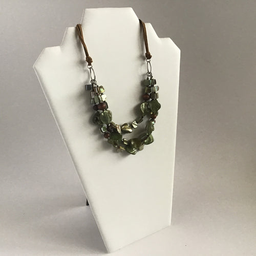Sage green and brown multi strand necklace, bracelet and earring set