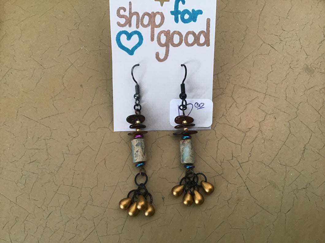 Eclectic Boho inspired dangle earrings with gold and fuschia