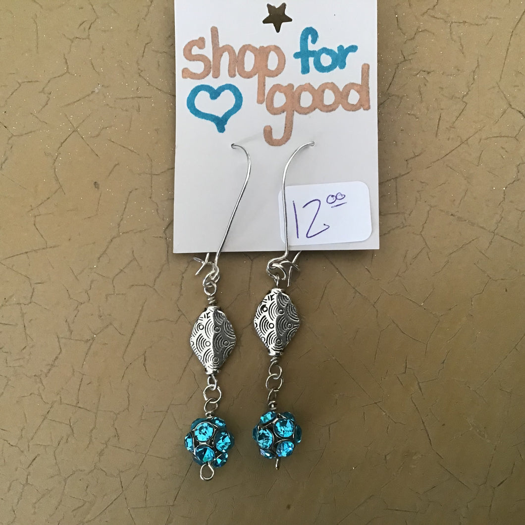 Aqua and silver earrings
