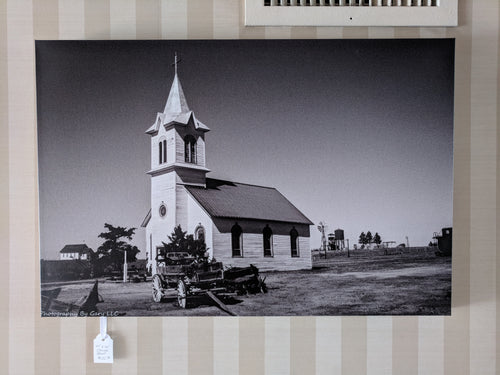 Church with Wagon 20x30 canvas
