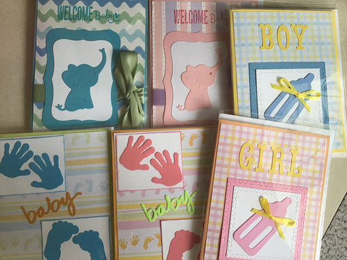 Baby boy and baby girl handmade cards Designed by Dee