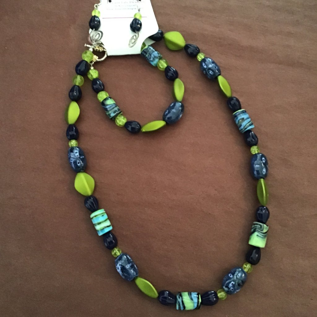 Blue and lime green beaded jewelry set