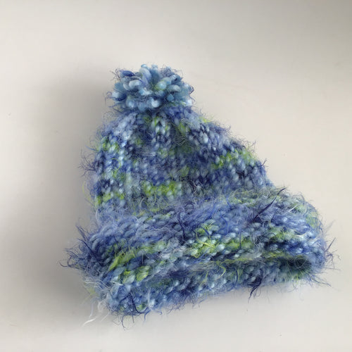 Super soft blue and green hat