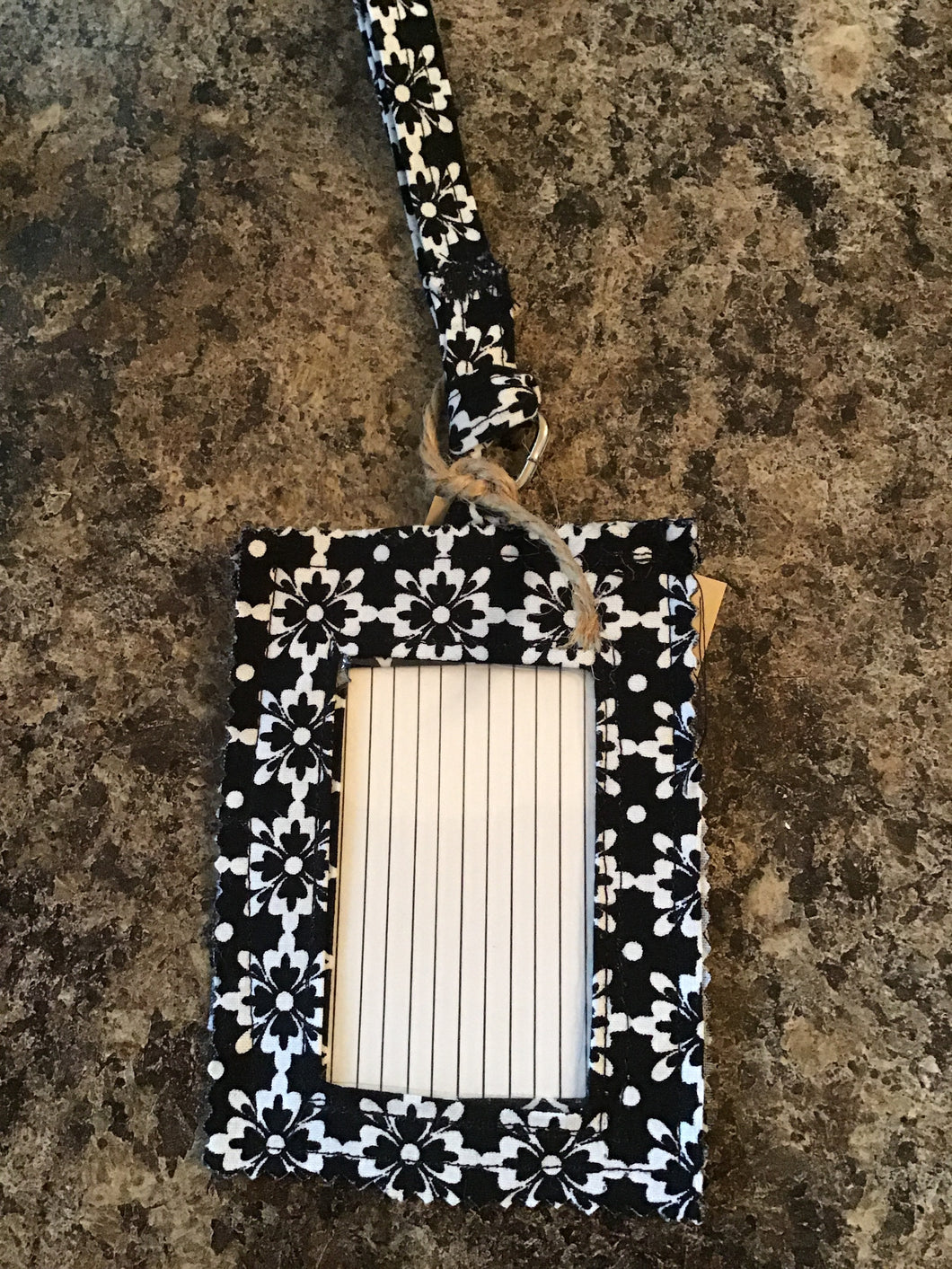 Black and White Luggage Tag/Lanyard Card Holder