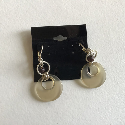 Circle dangle earrings, clear