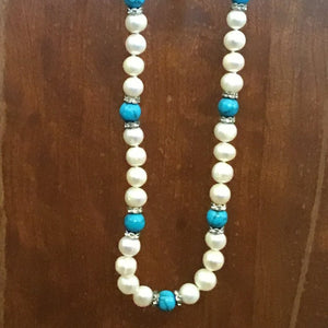Faux pearl and turquoise beaded necklace, handmade