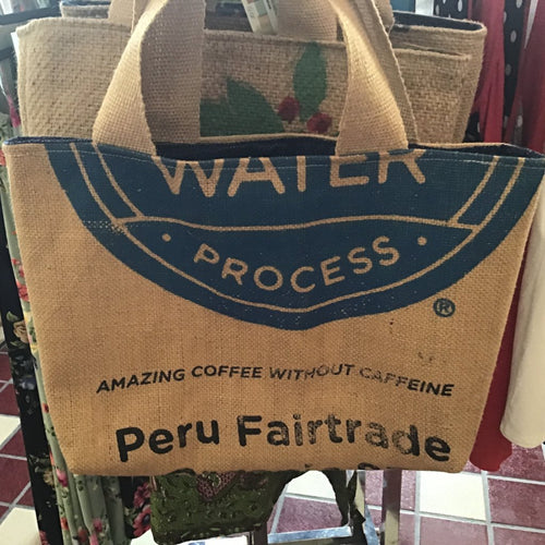 Coffee Burlap Tote Handmade in Ohio