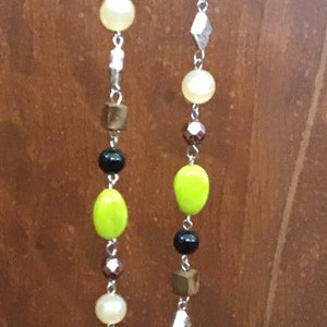 Lime green, black and ivory long chain necklace
