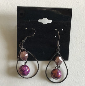 Teardrop earrings with purple beads