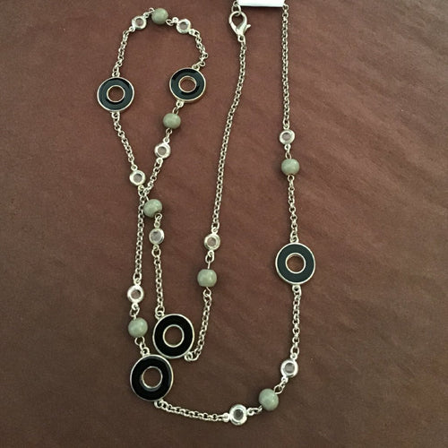 Chain link, black and beaded long necklace