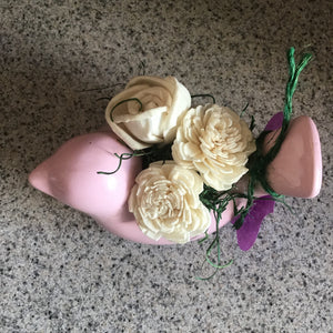 Wooden Flower Bird Centerpiece
