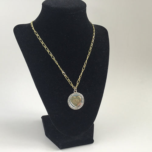 """The greatest of these is love"" gold and silver necklace"