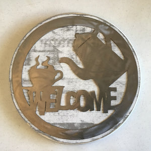 "Round ""Welcome"" Sign Featuring Coffee Pot, Wood and Metal"