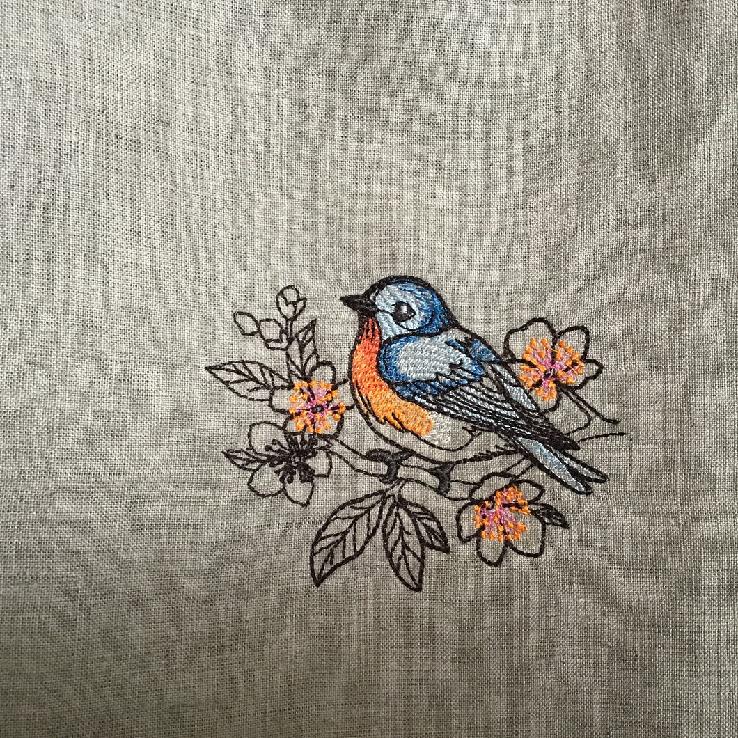 Bird style embroidered tea towels