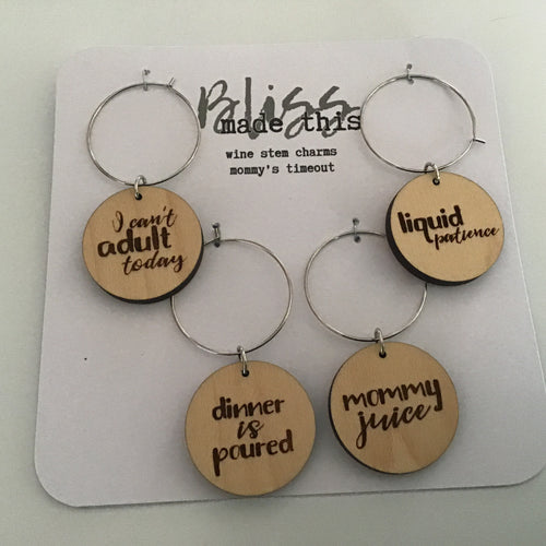 Liquid Patience wooden wine glass charms