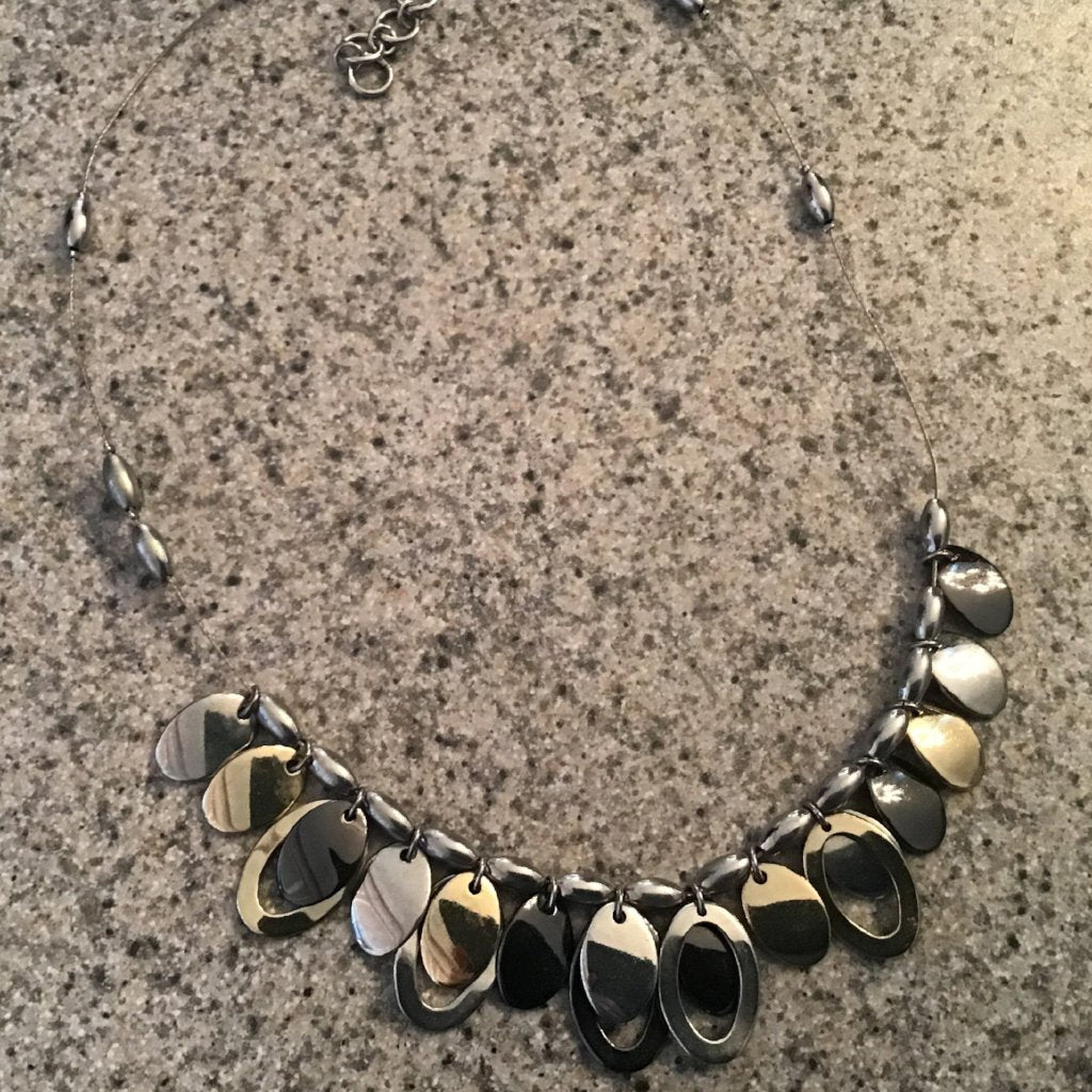 Two-tone metallic, choker style necklace with teardrop accents