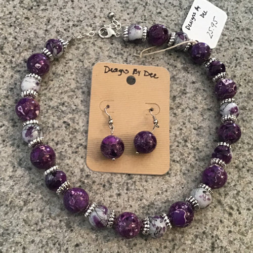 Necklace and earring set- purple stone and silver beading