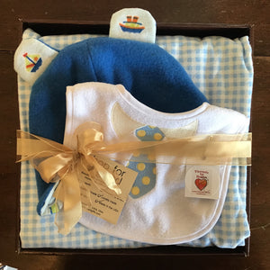 Blue and yellow baby gift set