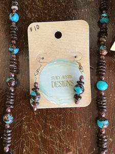 Matching earrings - Turquoise mask with earth tone beads, long necklace