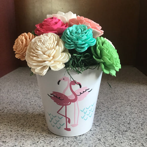 Ceramic Wooden Flower Centerpiece - Flamingo