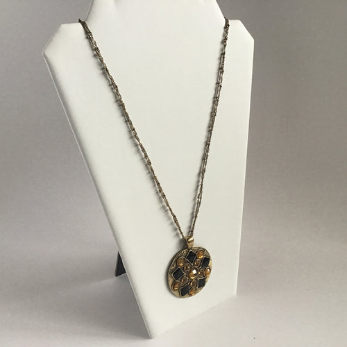 Black and amber gemstone disc pendant necklace