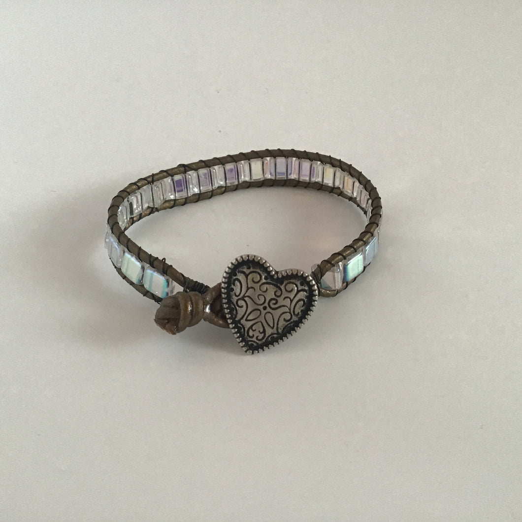Clear square beaded wrap bracelet with heart clasp