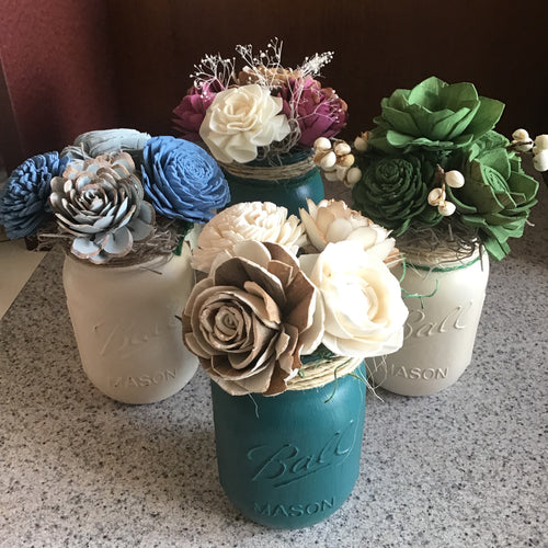 Mason Jar Wooden Flower Bouquet