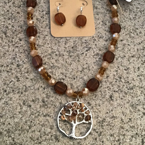Necklace and earring set- brown and amber beads with silver tree pendant