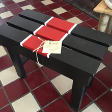 Raffle Ticket for Black Wood Bench with red and white highlights, 24 inches