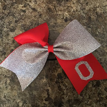 Cheer glitter bow with school logo