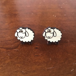 Handmade wooden, laser cut, stud Sheep earrings
